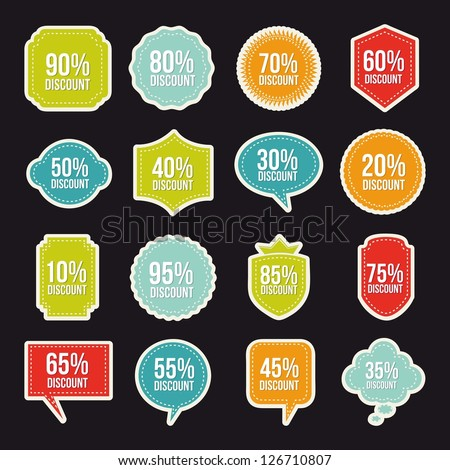 labels of discounts over black background. vector illustration - stock vector