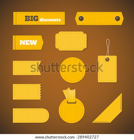 Labels of various shapes. Set of labels, stickers of various shapes. - stock vector