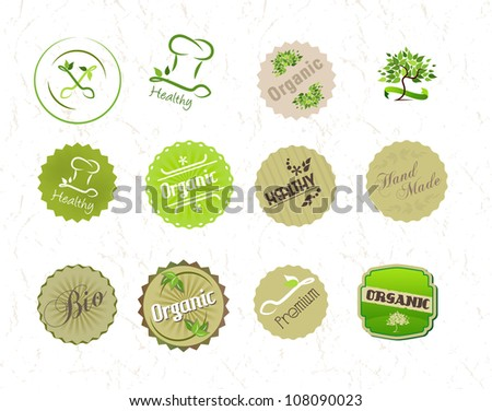 Labels set for organic and eco food and products - stock vector