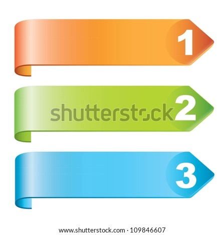 Labels steps with numbers over white background - stock vector