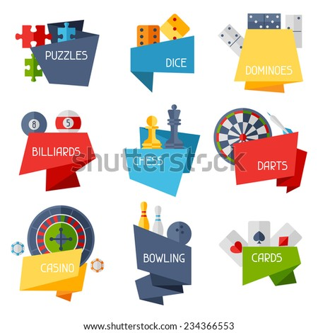 Labels with game icons in flat design style. - stock vector