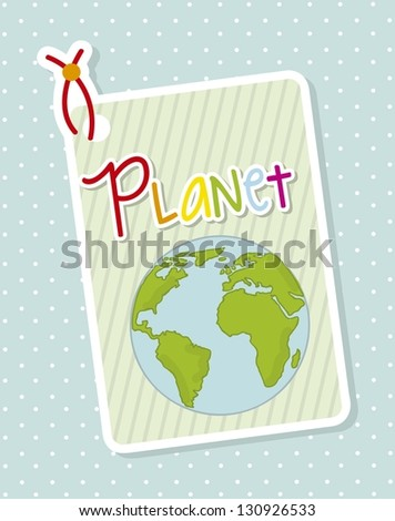labels with planet over blue background. vector illustration - stock vector