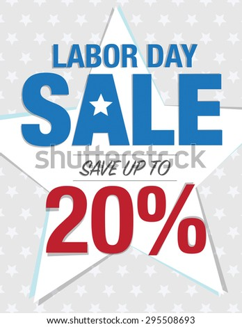 Labor Day Sale - Save up to sign with 20% - stock vector