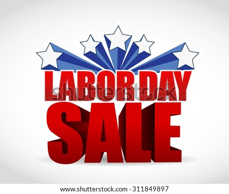 labor day sale sign illustration design graphic - stock vector