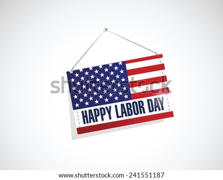 labor day us hanging flag illustration design over a white background - stock vector