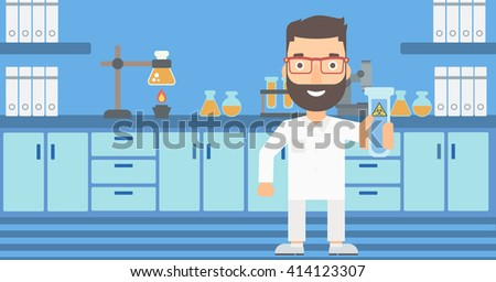 Laboratory assistant with test tube. - stock vector