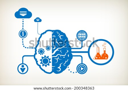 Laboratory flask and abstract human brain, the concept of the information movement - stock vector