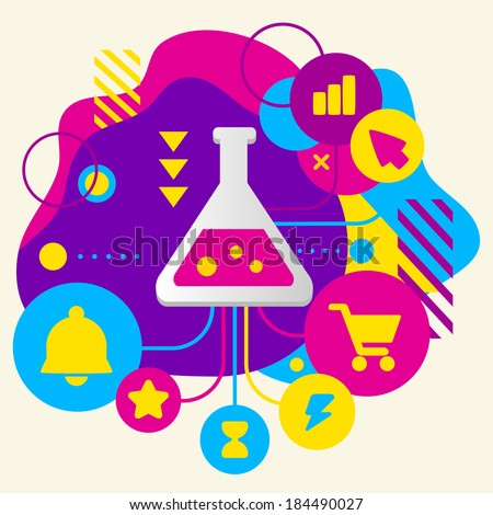 Laboratory flask on abstract colorful spotted background with different icons and elements. Flat design - stock vector