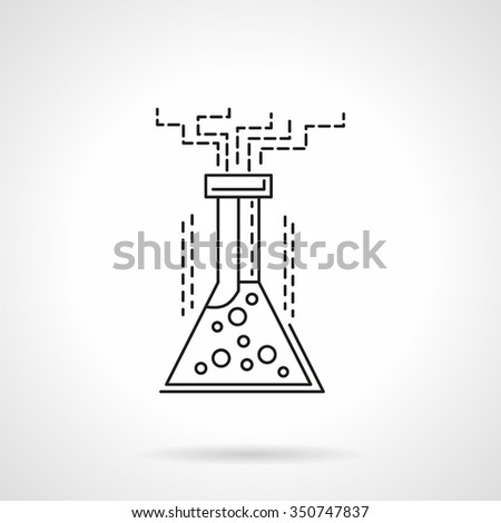 Laboratory flask with reaction liquid. Chemical experiment, laboratory glassware. Science and research. Flat line style vector icon. Single web design element for mobile app or website. - stock vector