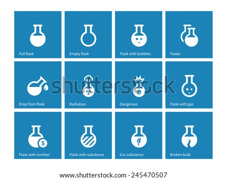 Laboratory glass icons on blue background. Vector illustration. - stock vector