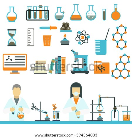 Laboratory symbols test medical and laboratory symbols scientific biology design. Laboratory symbols molecule microscope concept. Biotechnology. Laboratory symbols science and chemistry icons vector. - stock vector