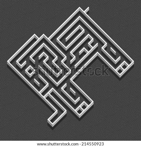 Labyrinth Elephant - stock vector