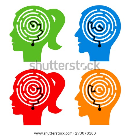 Labyrinth in the heads. Male and female head silhouettes with maze symbolizing psychological processes of understanding. Vector illustration. - stock vector