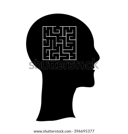 Labyrinth in the shape of a human head, contrast vector illustration.  Human head with maze inside brains vector black and white llustration concept icon - stock vector