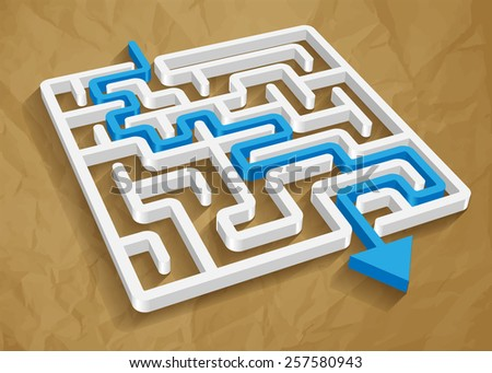 labyrinth maze 3d blue round light vector on crumpled paper brown background  - stock vector