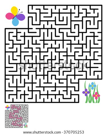 Labyrinth maze puzzle labyrinth vector, labyrinth maze, game maze vector kids maze lost, labyrinth game, flower, butterfly. Vector illustration - stock vector