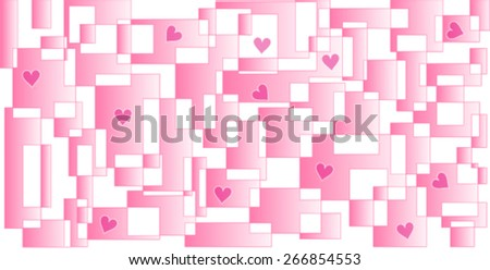 Labyrinth of Hearts. Modern-look pink background. A vector image consists of rectangles of different sizes and with gradient pink colors with hearts trapped in different spaces. - stock vector