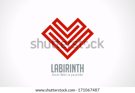 Labyrinth of Love - Heart of lines vector logo design template. Love concept icon. Happy Valentines Day! - stock vector