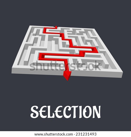 Labyrinth or maze with the word Selection below and a red arrow marking the route to exit the puzzle in a conceptual vector image - stock vector