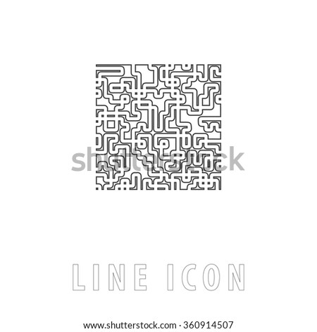 Labyrinth Outline simple vector icon on white background. Line pictogram with text  - stock vector