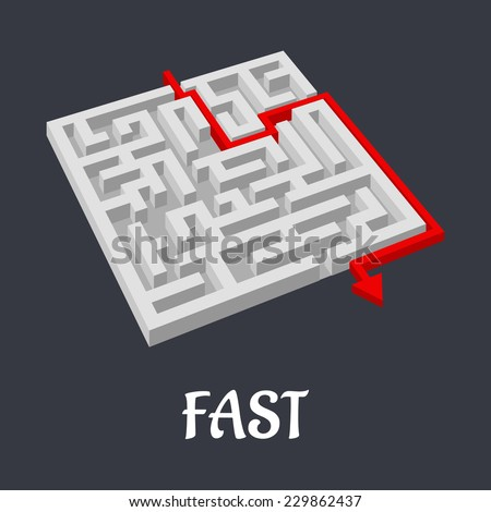Labyrinth puzzle with a fast short solution shown by a red arrow exiting the maze with text Fast below - stock vector