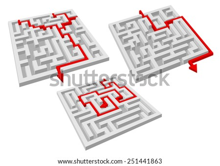 Labyrinth puzzles with red arrow solutions showing the way through the tunnels to the center or exit, isolated on white - stock vector