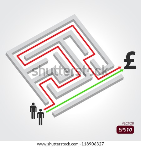 Labyrinth with arrow, people and pound symbol - stock vector