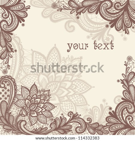Lace background with a place for text. Vintage lace vector design. - stock vector