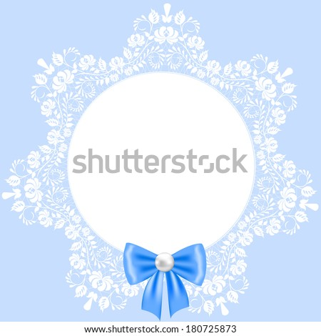 Lace beautiful white frame on blue background - stock vector
