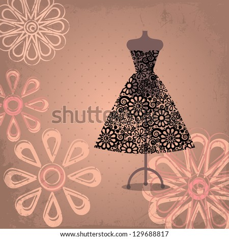 Lace black dress on mannequin - stock vector