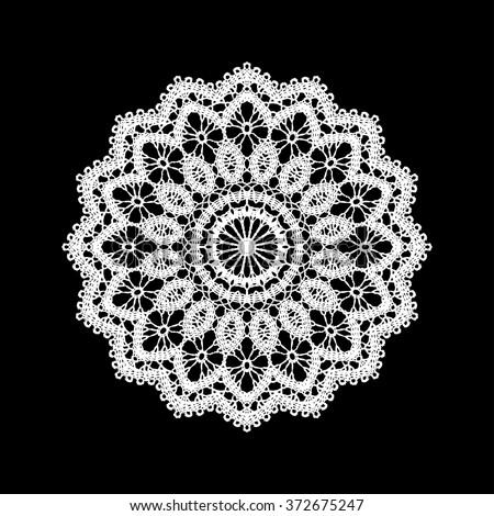 Lace / Doily, hand made cutout, wedding decor, design element, vector illustration - stock vector