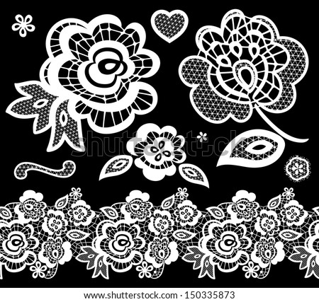lace embroidery design elements with abstract flowers on black background - stock vector