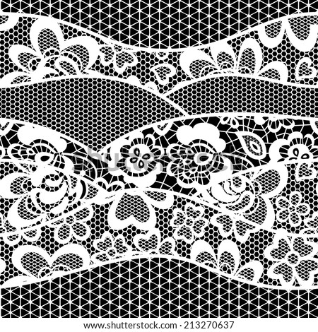 lace embroidery seamless pattern border isolated on black background - stock vector