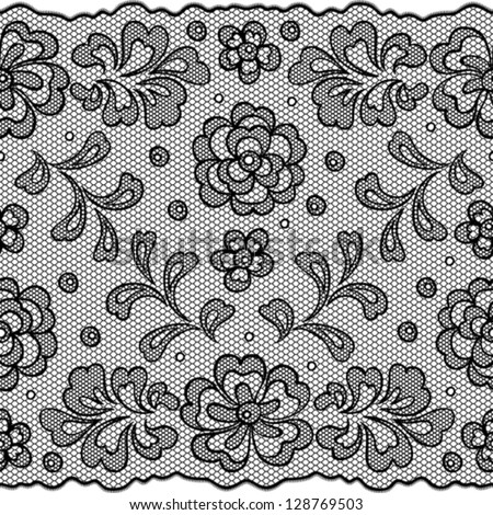 Lace fabric seamless border with abstract flowers. - stock vector