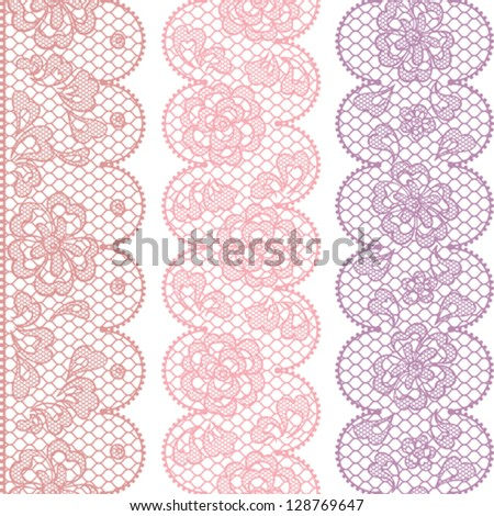Lace fabric seamless borders with abstract flowers. - stock vector