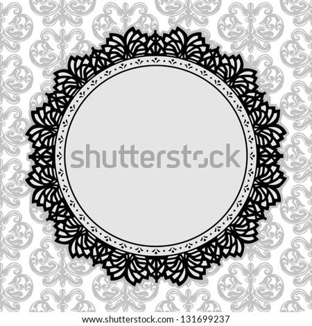 Lace Picture Frame, vintage round doily with antique damask background pattern design. Copy space for pictures for albums, scrapbooks, holidays. EPS8 compatible. - stock vector