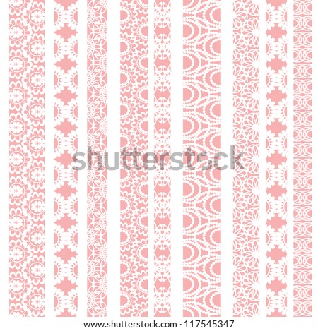Lace ribbons. Can be used for use with backgrounds or scrap-booking. - stock vector