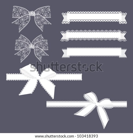 Lace Ribbons Set - stock vector