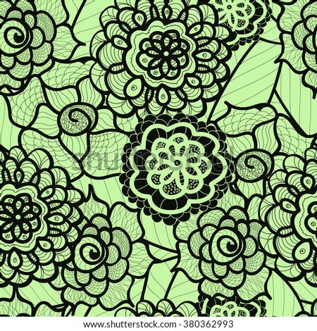 Lace seamless pattern with abstract elements. Vector floral background. Hand Drawn Texture. Decorative Flowers drawing. Doodle artwork. Black and green Zentagle illustration.Bohemian summer ornament. - stock vector