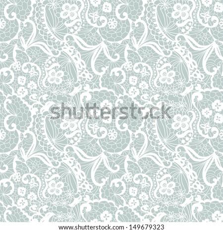 Lace seamless pattern with flowers. Lace seamless pattern with flowers on blue background. - stock vector