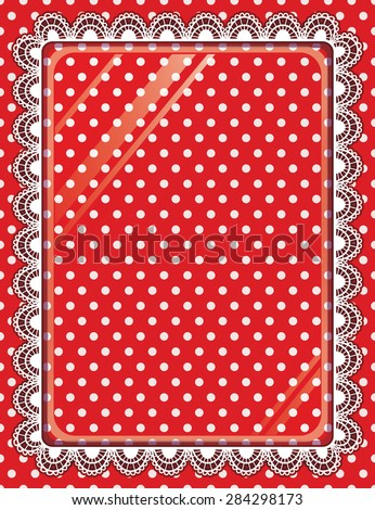 Lace vector frame with glass on the background polka dots - stock vector