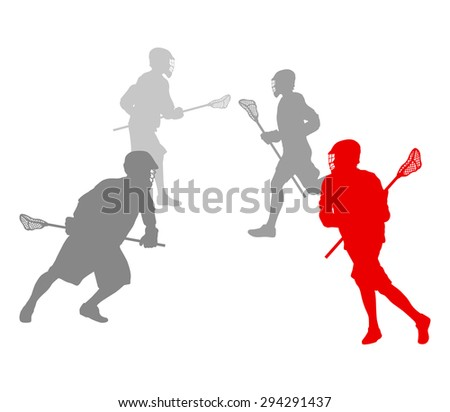 Lacrosse player in action winner concept vector background - stock vector