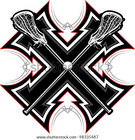 Lacrosse Sticks and Ball with Tribal Borders Vector Graphic - stock vector