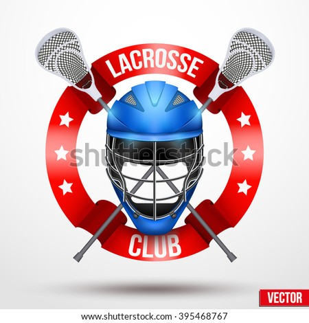 Lacrosse sticks and helmet with ribbons. Sporting Symbol and mascot. Vector Illustration Isolated on white background. - stock vector