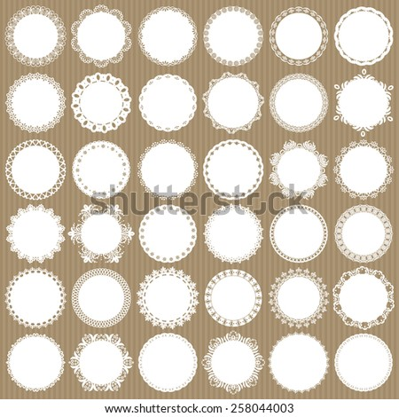 Lacy doilies mega set. - stock vector