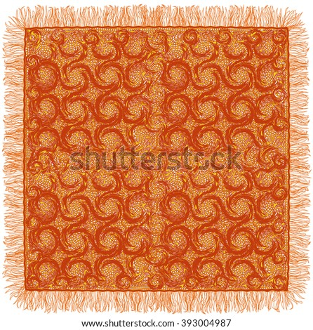 Lacy grunge striped and swirled serviette with fringe in brown and yellow colors isolated on white background - stock vector