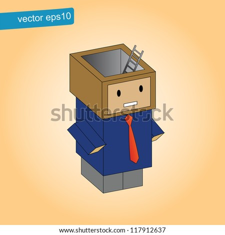 Ladder in head box, concept exit of business - stock vector
