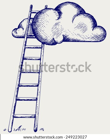 Ladder to clouds. Competition concept. Doodle style - stock vector