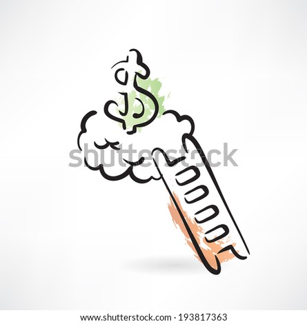 ladder to money grunge icon - stock vector
