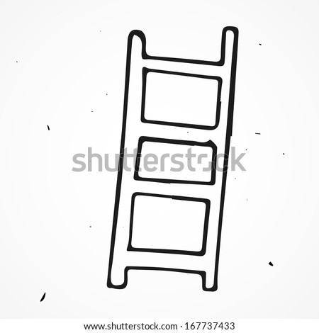 Ladders, stepladders hand drawn - stock vector